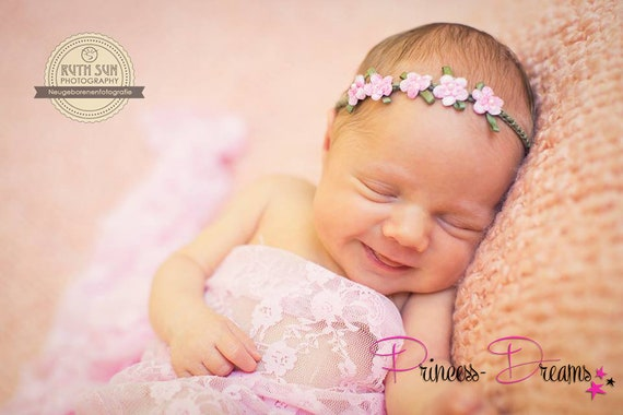 Neugeborenen Fotografie Beige /& Ivory 4 zur Auswahl 1 Baby Haarband Ab Newborn zum Mitwachsen Taufe Babyfotografie
