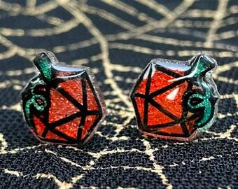 d20 Pumpkin Halloween Stud Earrings