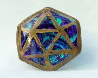 Peacock Marbled Handmade d20 Pin