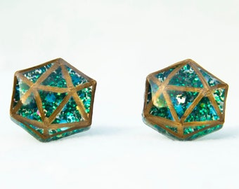 Sparkly Green d20 Stud Earrings
