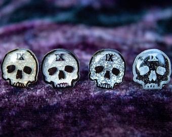 Ninth House Inspired Sparkly Skull Stud Earrings