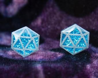 Sparkly Blue d20 Stud Earrings