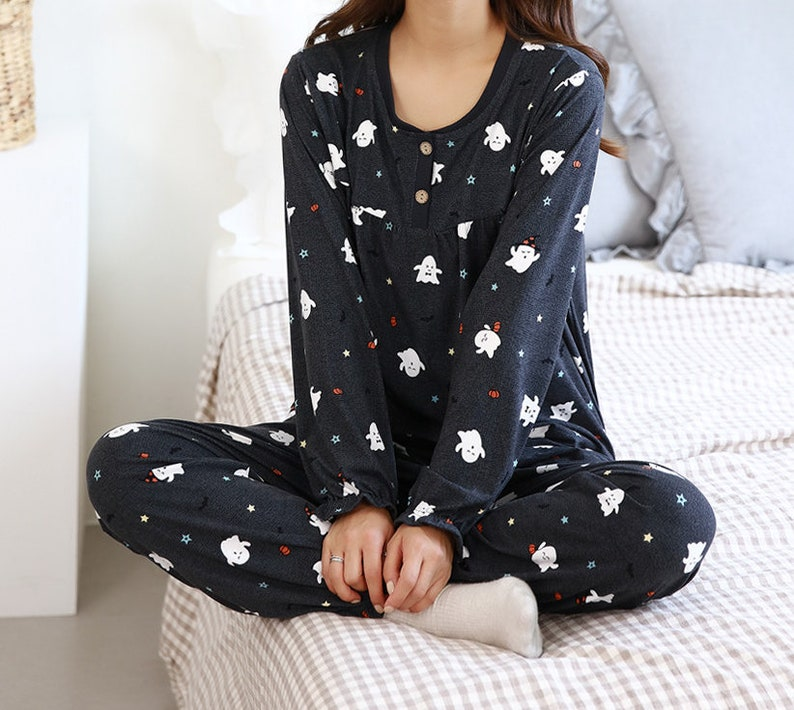 Two Piece Cute Print Gray Black Pajama Set  Top and Bottom  One Size for Men and Women