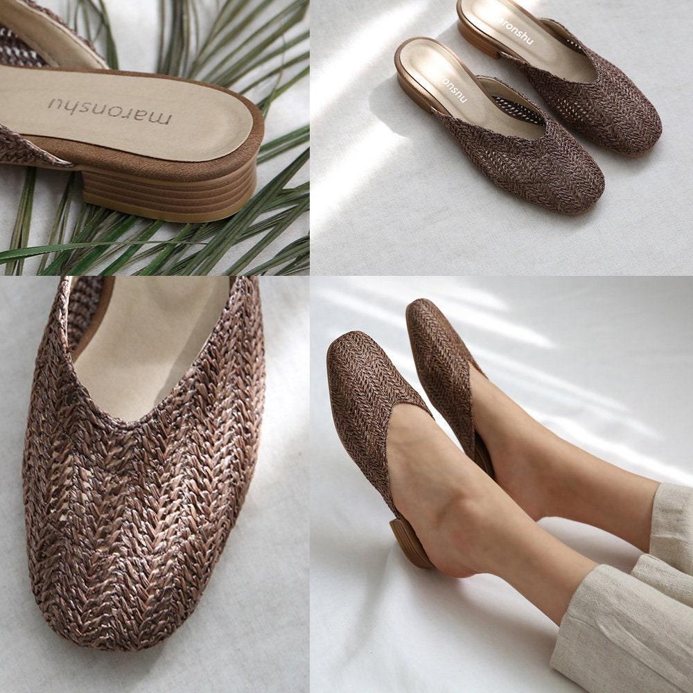 TOKL Sandals / Women Shoe Summer Mule / Flat Shoe Women / Women Faux Leather Mule / Beige, Brown e3e86a