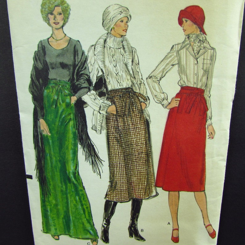 Vintage Vogue 1970s Skirt Size 26 12 Evening Length Mid Calf Below The Knee Gathered Waist With Wrap And Tie Welt Pockets
