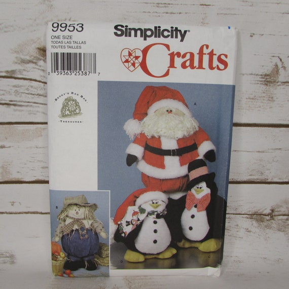 "Beckys Rag Bag Santa Claus 18/"" Christmas Craft Pattern Penguin doll Scarecrow"