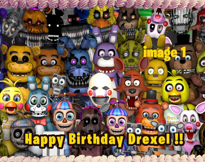 Five Nights at Freddy's  Custom Edible Images Celebration Cake Topper  Birthday Cake Topper Cake Decorating -Customize Cakes -Cupcake FNAF