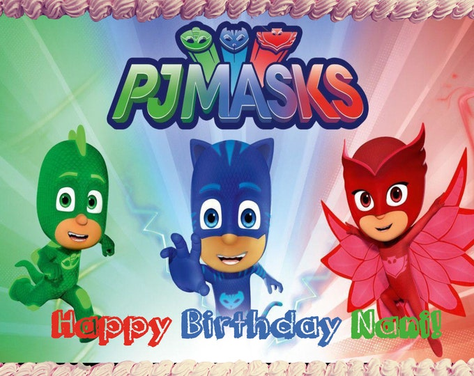 PJ Mask cake - Custom Edible Images -Celebration Cake Topper - Birthday Cake Topper -Cake Decorating -Customize Cakes -Cupcake Topper