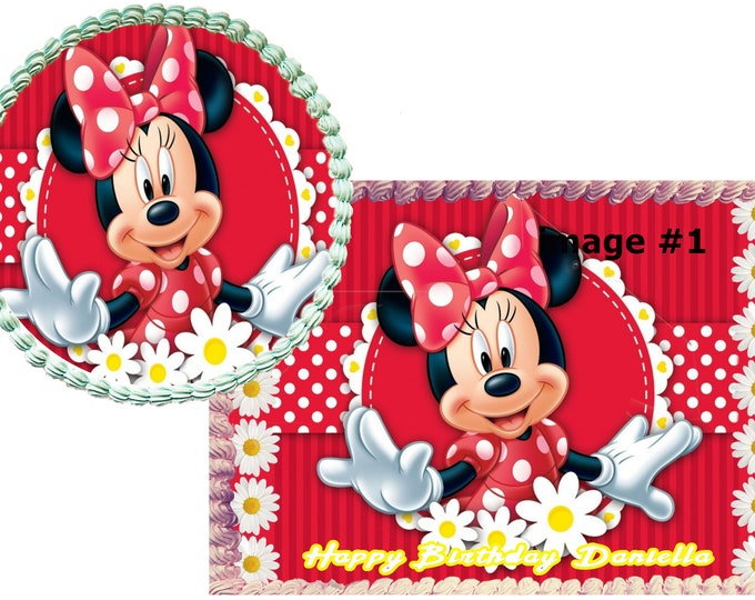 Minnie Mouse cake - Custom Edible Images -Celebration Cake Topper - Birthday Cake Topper -Cake Decorating -Customize Cakes -Cupcake Topper