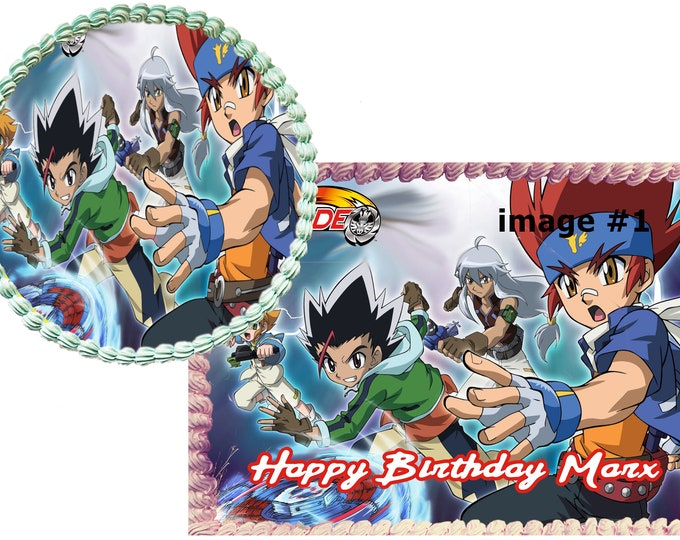 Beyblade - Custom Edible Images -Celebration Cake Topper - Birthday Cake Topper -Cake Decorating -Customize Cupcake Topper