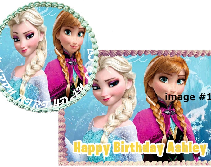 Frozen Anna and Elsa - Decoration - Cupcake Topper - Cake Decorating - Customize Cakes - Cupcake or Cookie Toppers - Custom Edible Images