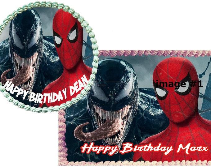 Spiderman vs Venom cake - Custom Edible Images -Celebration Cake Topper  Birthday Cake Topper Cake Decorating Customize Cakes Cupcake Topper
