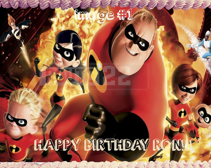The Incredibles - Decoration - Cupcake Topper - Cake Decorating - Customize Cakes - Cupcake or Cookie Toppers - Custom Edible Images