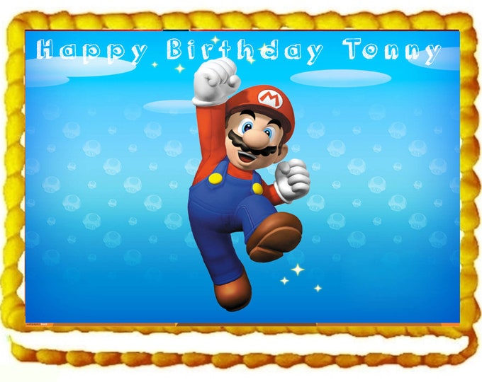 Super Mario  cake - Custom Edible Images -Celebration Cake Topper - Birthday Cake Topper -Cake Decorating -Customize Cakes - Mario Bross