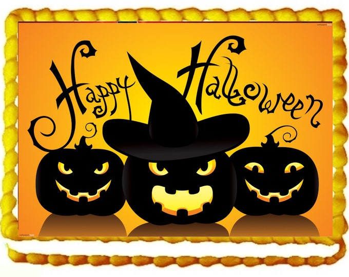 Happy Halloween  Cake Topper - Halloween Cake - Halloween Celebration - Cake - Customize Cakes - Custom Edible Images - Halloween Decoration
