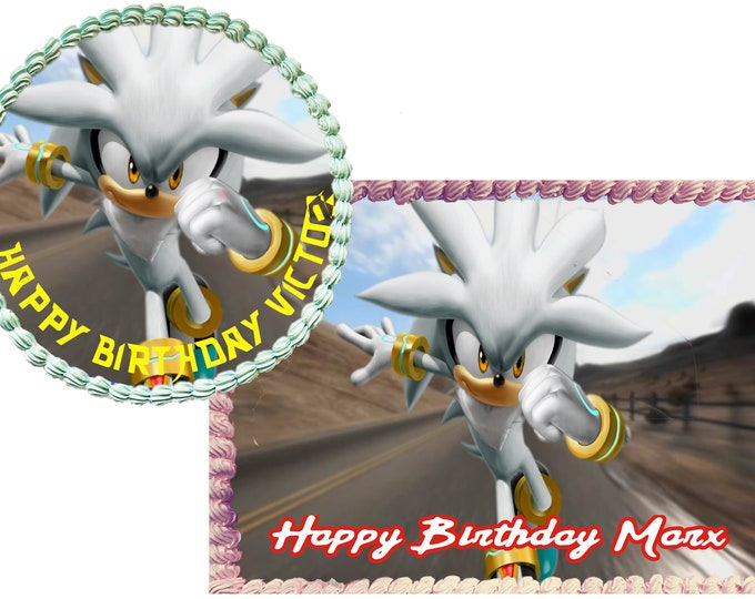 Silver The Hedgehog- Custom Edible Images -Celebration Cake Topper - Birthday Cake Topper -Cake Decorating -Customize Cakes -Cupcake Topper