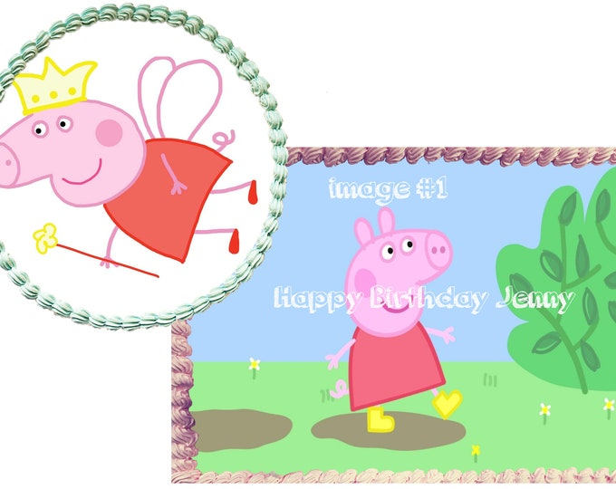 Peppa Pig cake - Custom Edible Images -Celebration Cake Topper - Birthday Cake Topper -Cake Decorating -Customize Cakes -Cupcake Topper