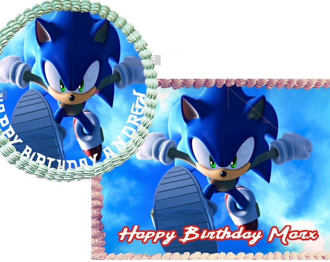 Sonic The Hedgehog- Custom Edible Images -Celebration Cake Topper - Birthday Cake Topper -Cake Decorating -Customize Cakes -Cupcake Topper