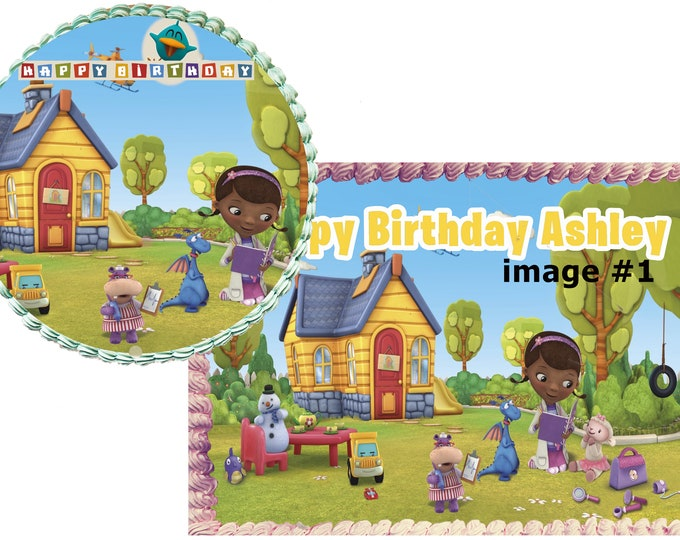 Doc Mcstuffins- Decoration - Cupcake Topper - Cake Decorating - Customize Cakes - Cupcake or Cookie Toppers - Custom Edible Images