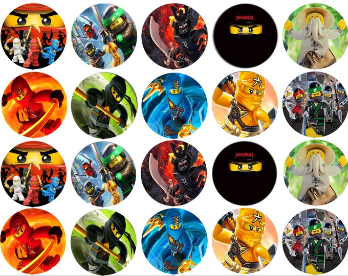 Ninjago - Decoration - Cupcake Topper - Cake Decorating - Customize Cakes - Cupcake or Cookie Toppers -  Edible Images