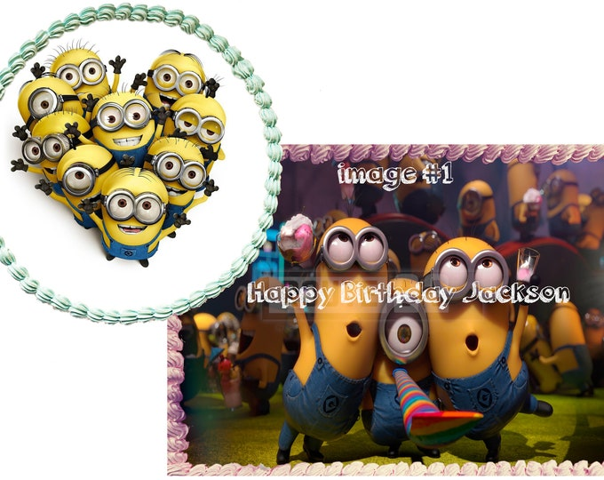 Minions- Cake Decorating - Cupcake Topper - Customize Cakes - Cupcake or Cookie Toppers - Custom Edible Images