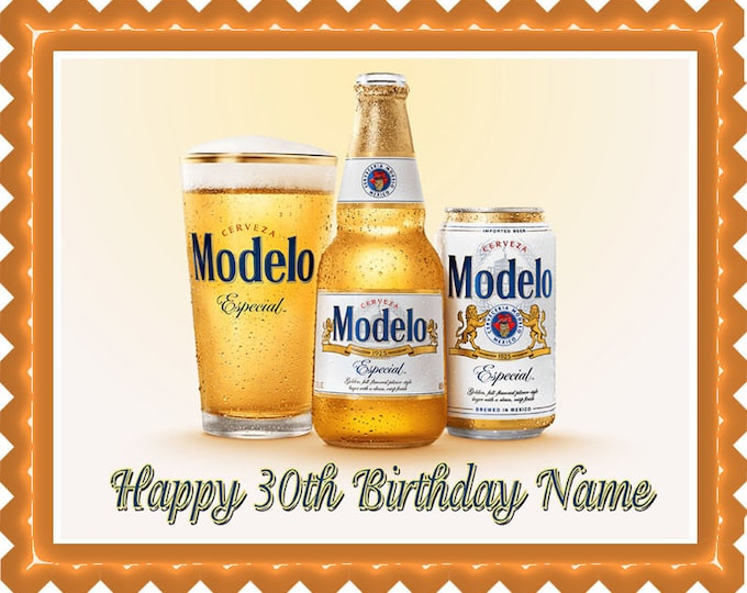 Modelo Beer - Cupcake Topper - Cake Decorating - Customize Cakes - Cupcake or Cookie Toppers - Custom Edible Images -Celebration Cake Topper