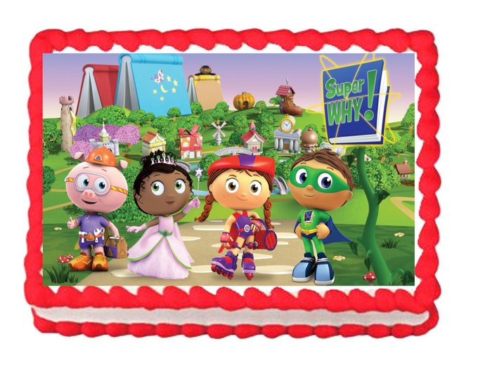 Super Why - Super Why Decoration - Cupcake Topper - Cake Decorating - Customize Cakes - Cupcake or Cookie Toppers - Custom Edible Images