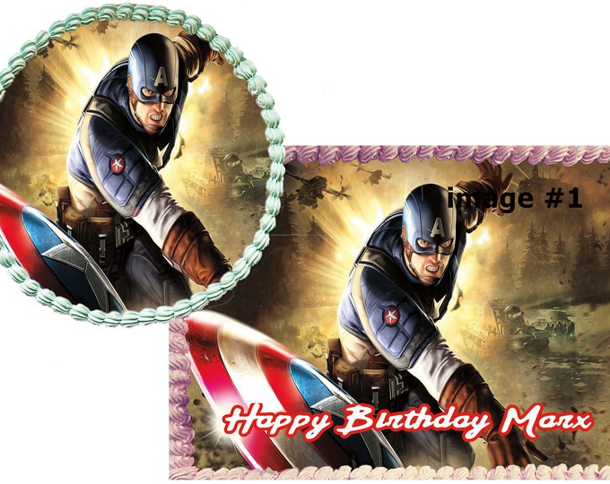 Captain America cake - Custom Edible Images -Celebration Cake Topper - Birthday Cake Topper -Cake Decorating Customize Cakes -Cupcake Topper
