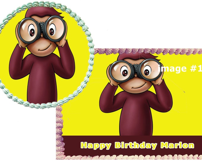 Curious George Decoration - Cupcake Topper - Cake Decorating - Customize Cakes - Cupcake or Cookie Toppers - Custom Edible Images