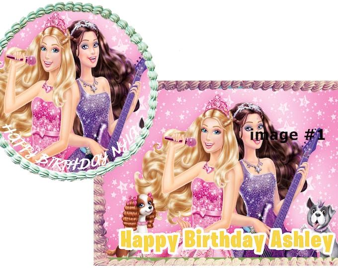 inspired  Barbie cake - Custom Edible Images -Celebration Cake Topper - Birthday Cake Topper -Cake Decorating Customize Cakes Cupcake Topper