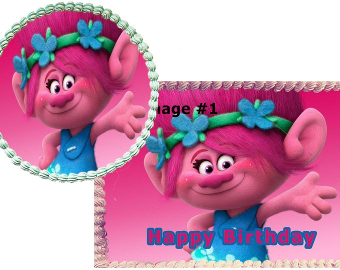 Trolls  cake - Custom Edible Images -Celebration Cake Topper - Birthday Cake Topper -Cake Decorating -Customize Cakes -Cupcake Topper Poppy