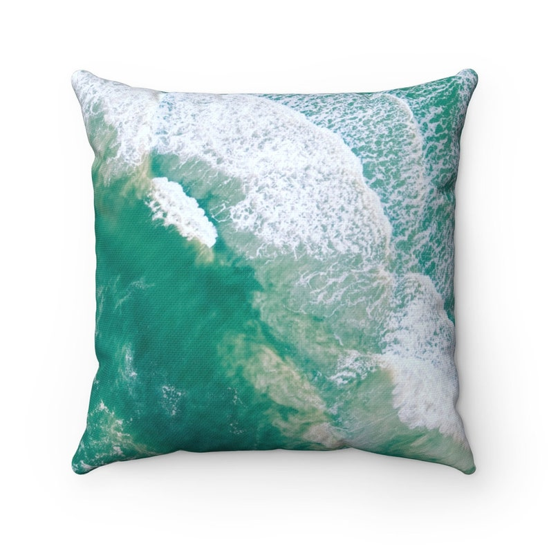 Spun Polyester Square Pillow Aerial Sea Foam