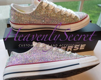 343ef45f850e5b Custom Rhinestone Low Top Converse All Star     Womens Shoes     Wedding      Prom     Graduation     Quinceanera     Custom Bling Sneakers