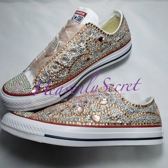 Cinderella Custom Blinged Low Top Converse * White Sneaker * Women's Wedding Shoes * Prom * Quinceanera * Graduation Rhinestone Sneakers