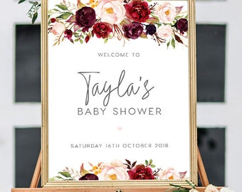INSTANT DOWNLOAD Editable pdf Marsala Entry Sign Baby Shower Welcome Sign Printable Wedding Welcome Sign Welcome to the Baby Shower