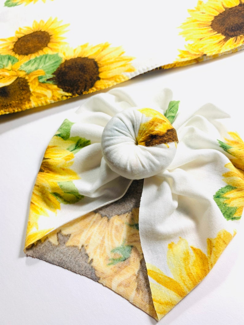 Sunflowers Newborn Swaddle Set Swaddle+Headwrap Set Floral Swaddle Newborn Baby Gifts Baby Shower Gift Baby First Outfit Hospital Outfit