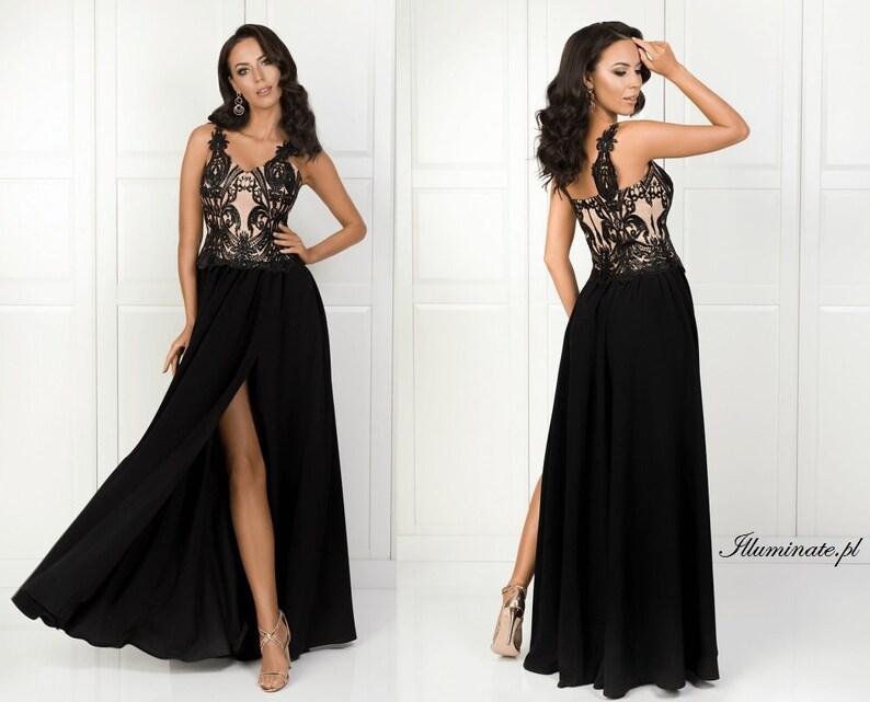 31bb2af548 Salma długa elegancka czarna suknia dla druhny