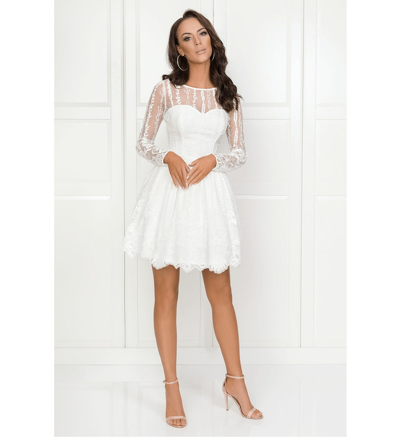 9d948a541b Tulle Dress with long sleeves white