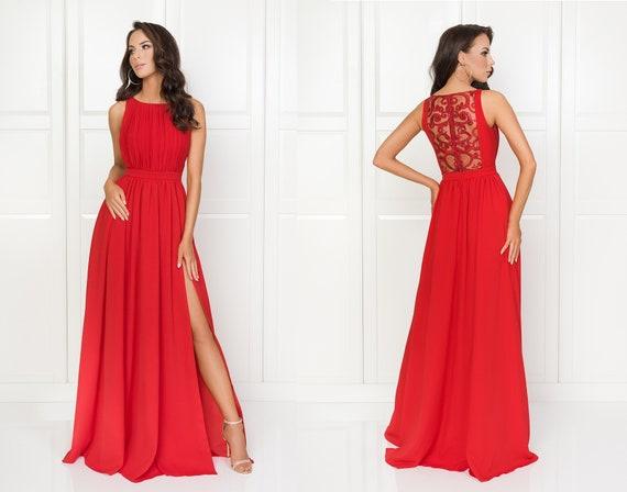 aspetto dettagliato a625c 30655 Ellie-lungo elegante vestito rosso