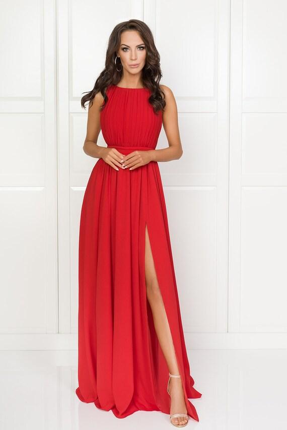 online te koop koop goed online bestellen Ellie-lange elegante rode jurk