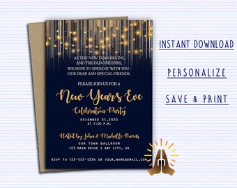 new years invitationnew years template editable corjl new years eve party new years invite gold navy printable new years diy