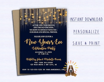 New Years Eve Invite Etsy
