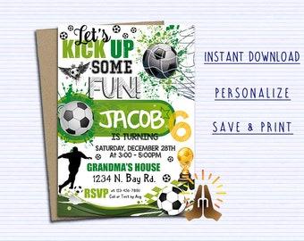 Soccer invitation etsy soccer invitation soccer birthday invitation soccer party chalkboard printable sports ball girl boy invite digital file instant download filmwisefo