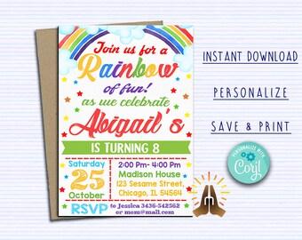 Rainbow Invitation Party Birthday Invites Baby