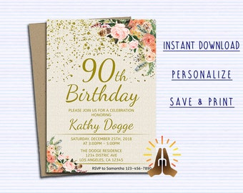 90th birthday invite etsy 90th birthday invitations for women floral birthday invitation cheers to 90 years floral ivory birthday invitation editable invitation filmwisefo