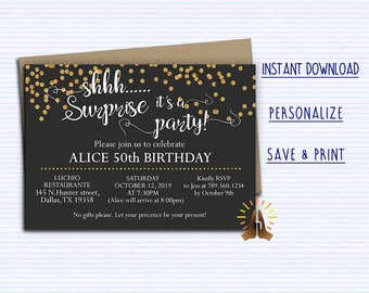 surprise invitation etsy