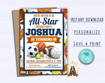 INSTANT DOWNLOAD Printable Sports Invitation Birthday Party Invite Sport