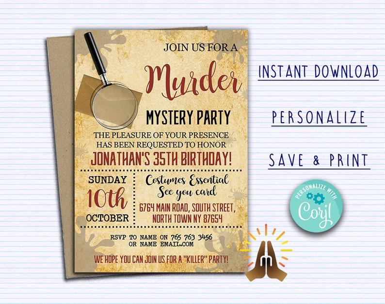 Murder Mystery Party Invitation Dinner Invitations Escape Room Custom