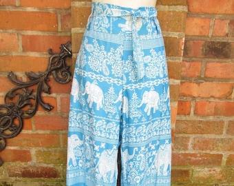 Pants Summer Harem Pants Pants Pants Fabric Pants Hippie Ethno Goa Batik New S-XL Colorful Blue Pattern Mandala Wrap Pants Ready