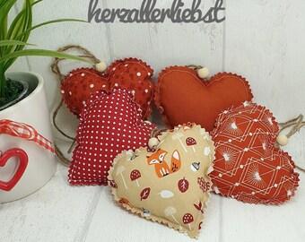 5 x Herzen, Herbst Set, braun, Fuchs, Stoffherz, heart, Landhaus, shabby, Fensterdeko, Küchendeko, Deko, Herbstdeko, Türkranz, gepunktet,